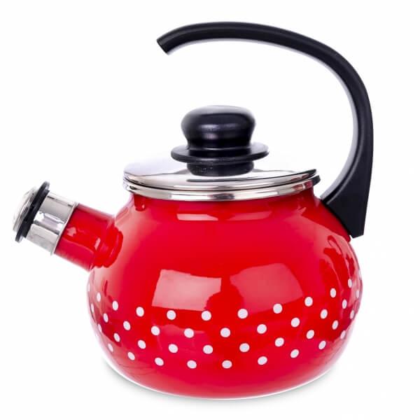 Červený bodkovaný čajník s píšťalou 1,75 l